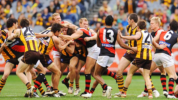 2009: Matthew Lloyd's concussing hit on Brad Sewell sparks a melee.